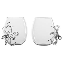 Hand Blown Pair of Glasses from Polpo Collection by Simone Crestani