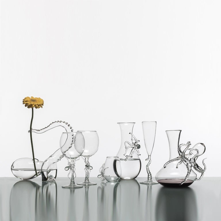 Other Hand Blown Pair of Wine Glasses from Polpo Collection by Simone Crestani For Sale
