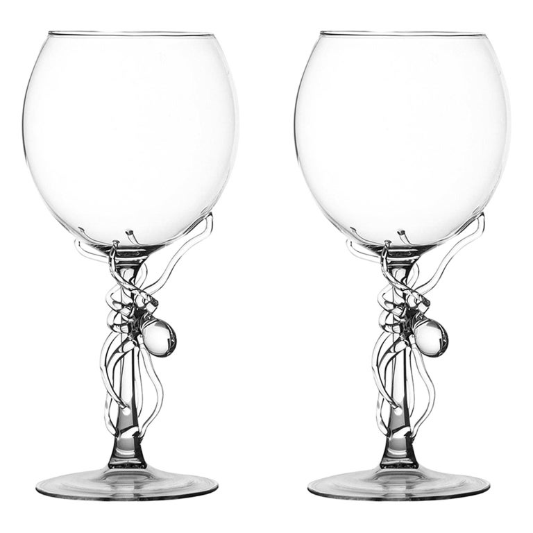 Hand Blown Pair of Wine Glasses from Polpo Collection by Simone Crestani For Sale