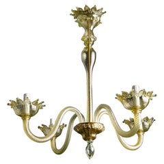 Hand Blown Simple Murano Chandelier with a Slight Olive Cast and Four Arms