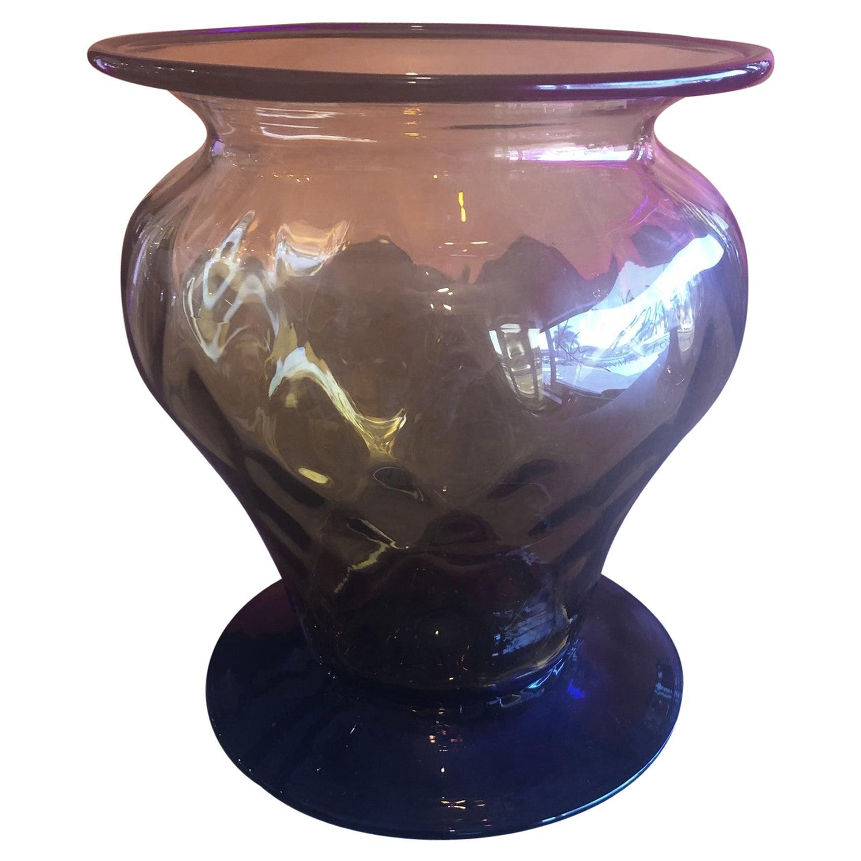 Hand Blown Two-Tone Art Glass Vase by Blenko Glass