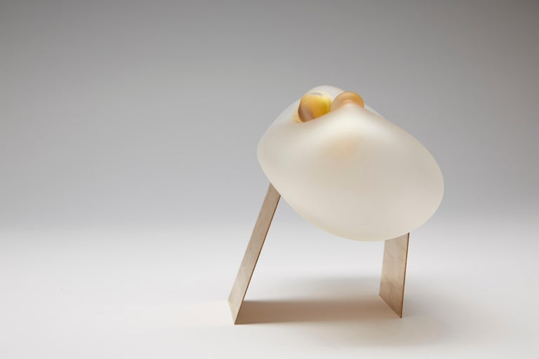 Limited edition of the hand blown glass sculpture by Jinyaglass with high quality gaffer glass material.  Jinya's work spans sculpture, installation and design. In her current collection she has created a body of new work, using different glass