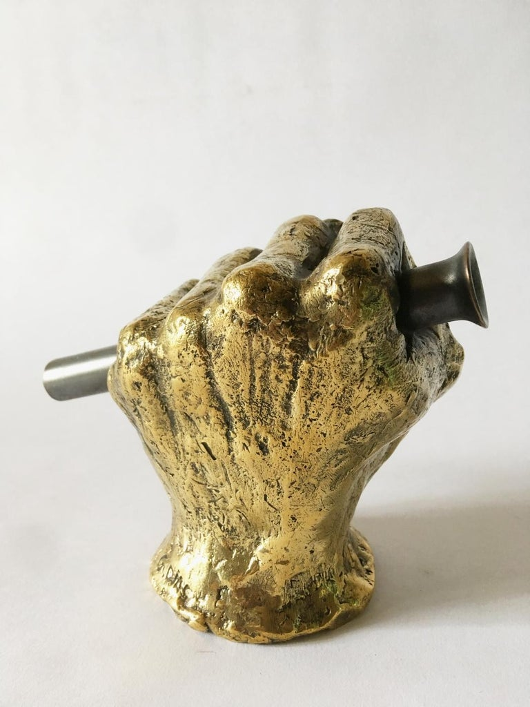 Hand Bronze Sculpted Vase by Gustavo Dias In New Condition For Sale In Geneve, CH