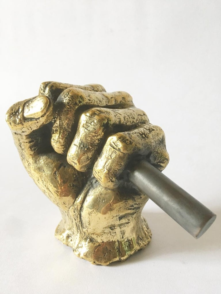 Contemporary Hand Bronze Sculpted Vase by Gustavo Dias For Sale