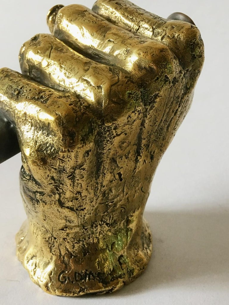 Marble Hand Bronze Sculpted Vase by Gustavo Dias For Sale