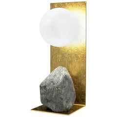 Hand Brushed Brass and Stone Table Lamp by Batten and Kamp