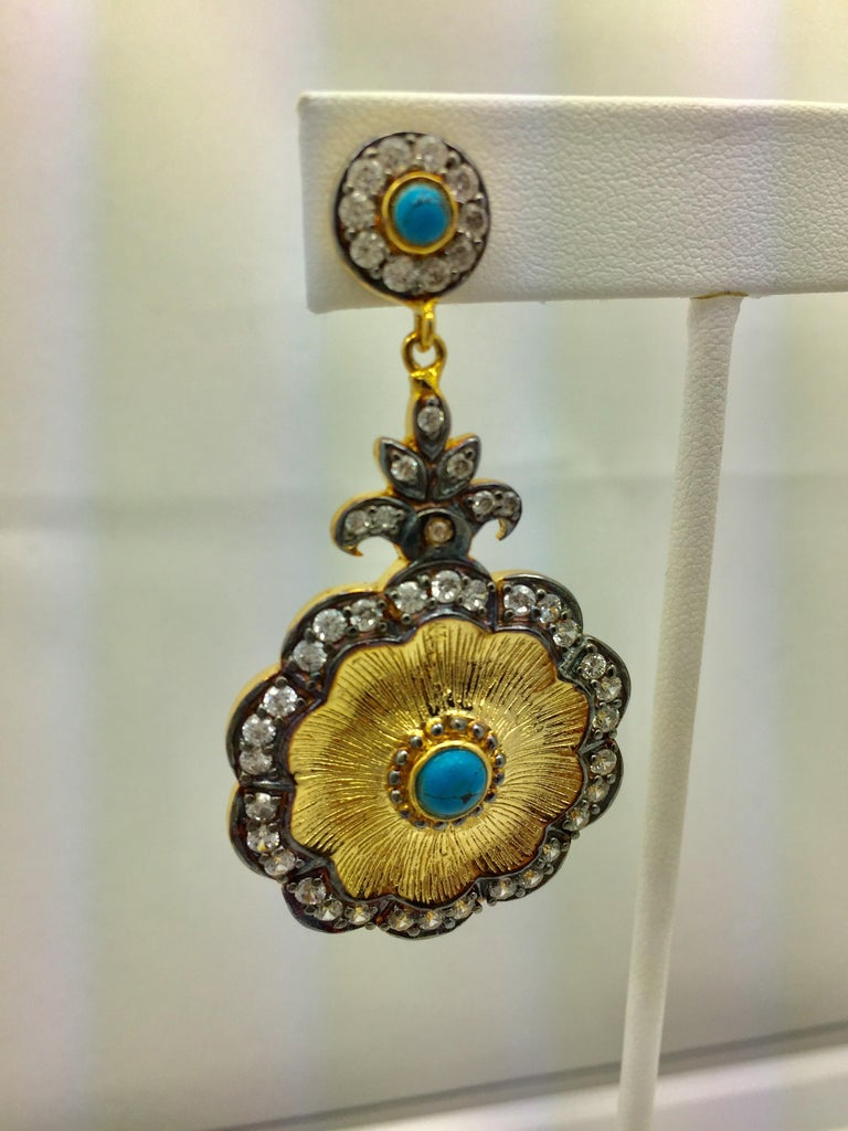 Hand brushed Camilla earrings in turquoise  In New Condition For Sale In Hoffman Estates, IL