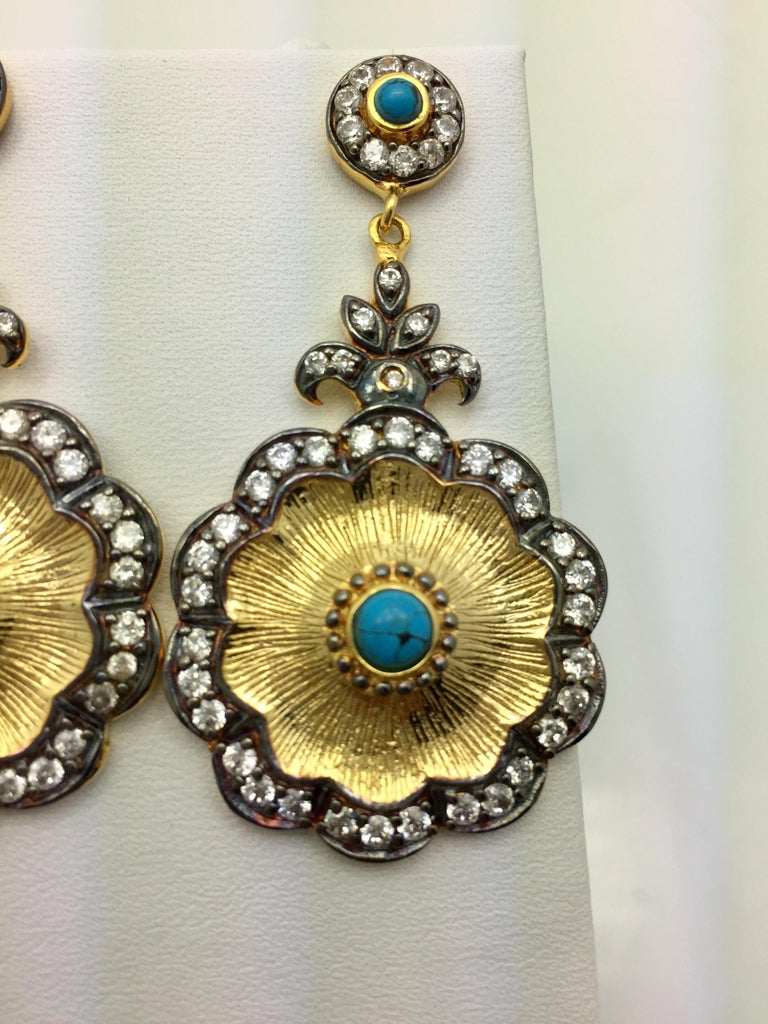 Women's Hand brushed Camilla earrings in turquoise  For Sale