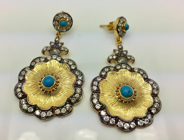 Hand brushed Camilla earrings in turquoise  For Sale 1