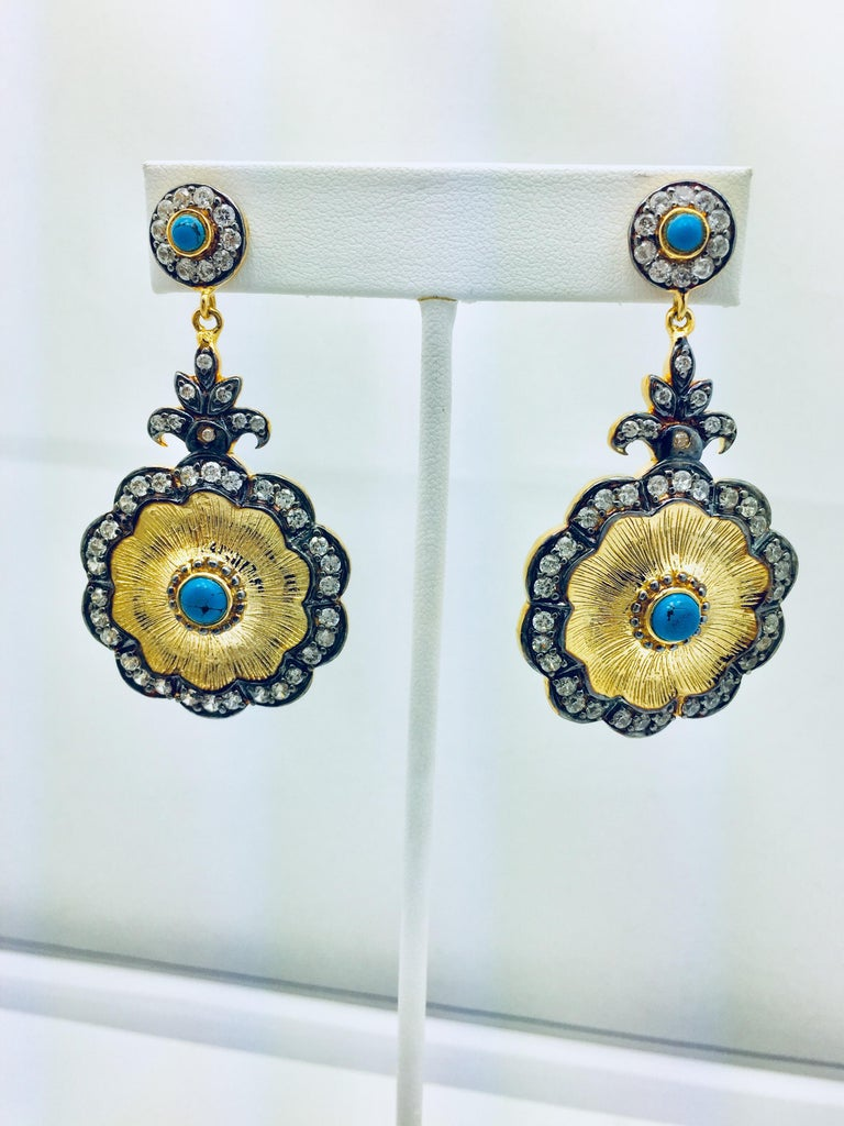Hand brushed Camilla earrings in turquoise  For Sale 2