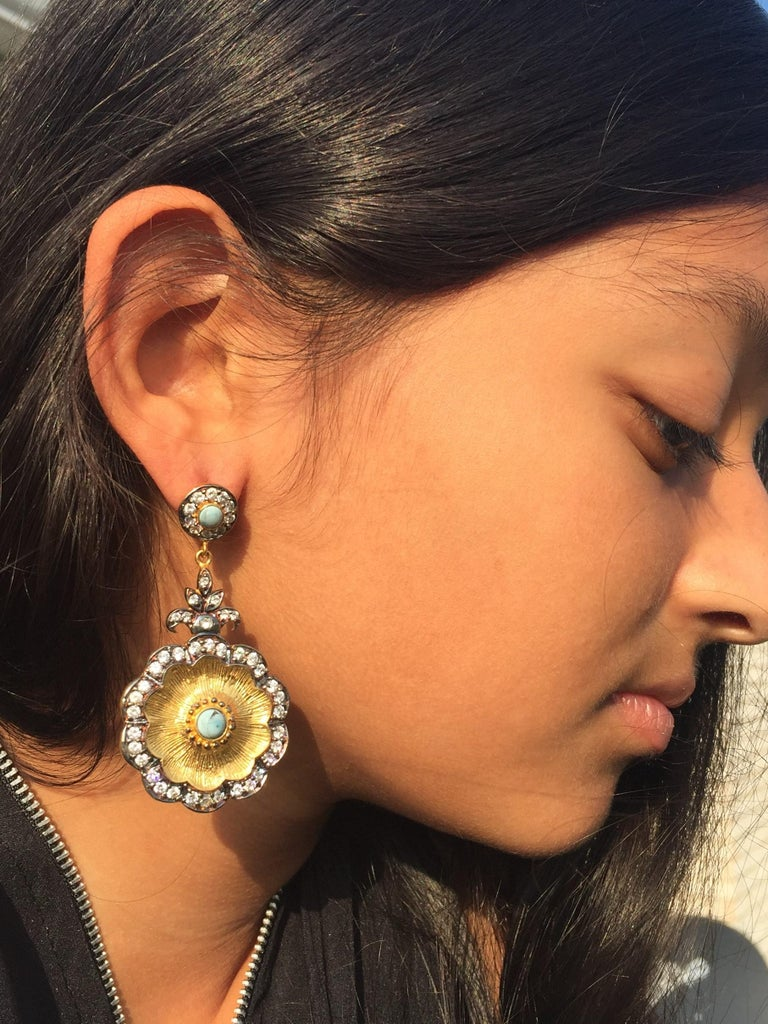 Hand brushed Camilla earrings in turquoise  For Sale 3