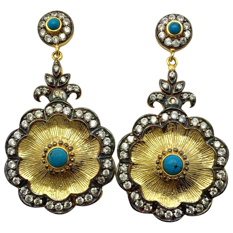 Hand brushed Camilla earrings in turquoise  For Sale