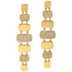 Hand Brushed Matte 18 Karat Gold Tiered Diamond Earrings