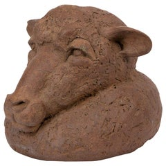Hand Built Ceramic Bust of a Sheep