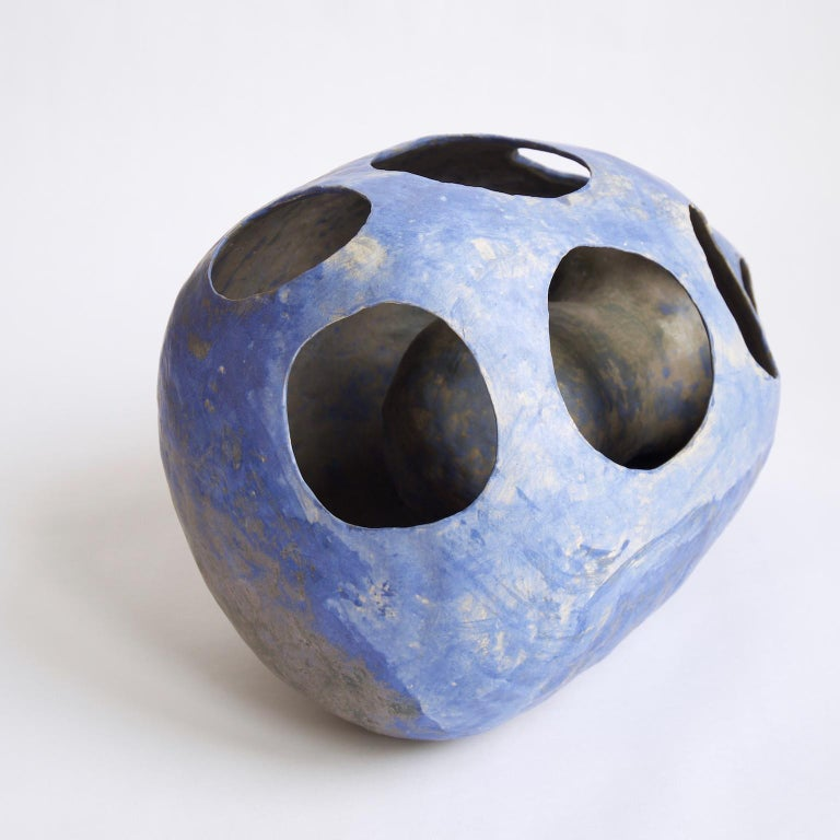 Hand-Built Ceramic Contemporary Sculpture in Cobalt Blue Oxide by Yuko Nishikawa For Sale 4