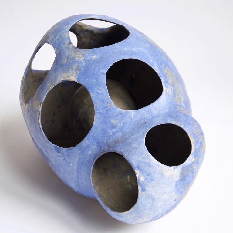 Hand-Built Ceramic Contemporary Sculpture in Cobalt Blue Oxide by Yuko Nishikawa For Sale 6