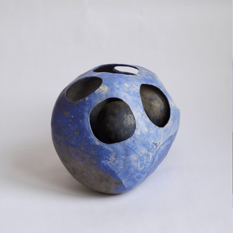 Fired Hand-Built Ceramic Contemporary Sculpture in Cobalt Blue Oxide by Yuko Nishikawa For Sale