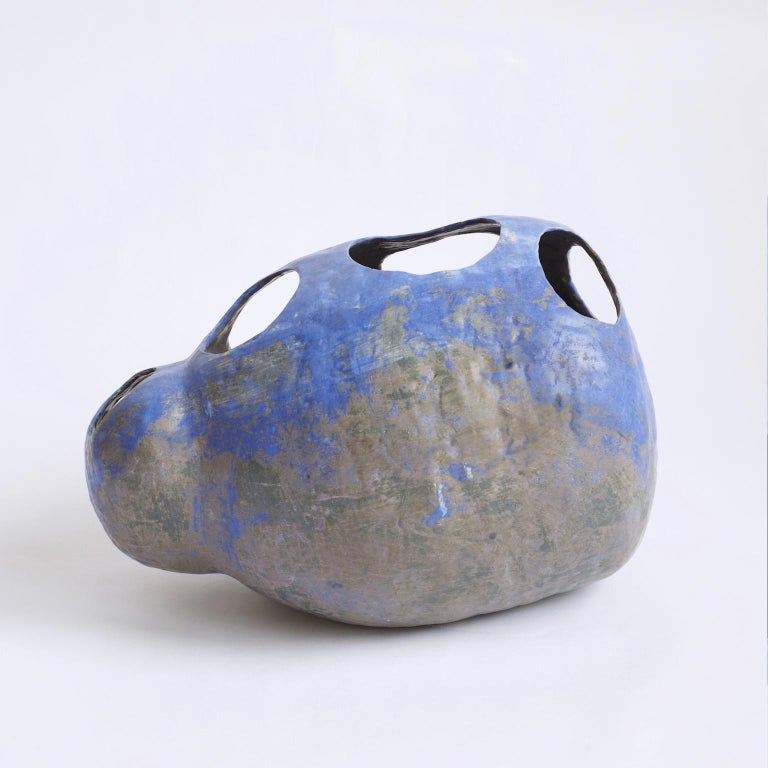 Hand-Built Ceramic Contemporary Sculpture in Cobalt Blue Oxide by Yuko Nishikawa In New Condition For Sale In Brooklyn, NY