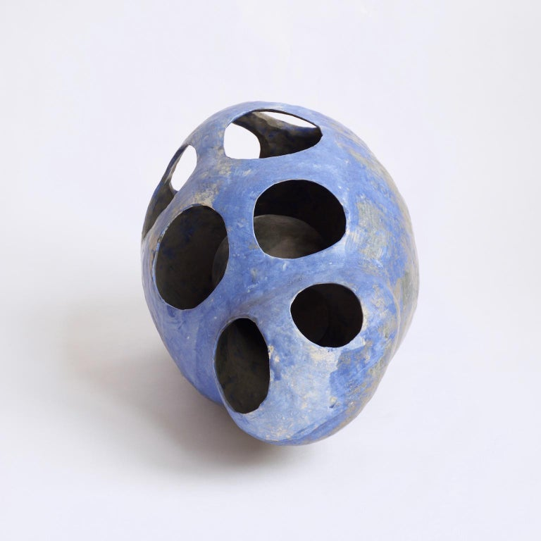 Hand-Built Ceramic Contemporary Sculpture in Cobalt Blue Oxide by Yuko Nishikawa For Sale 1