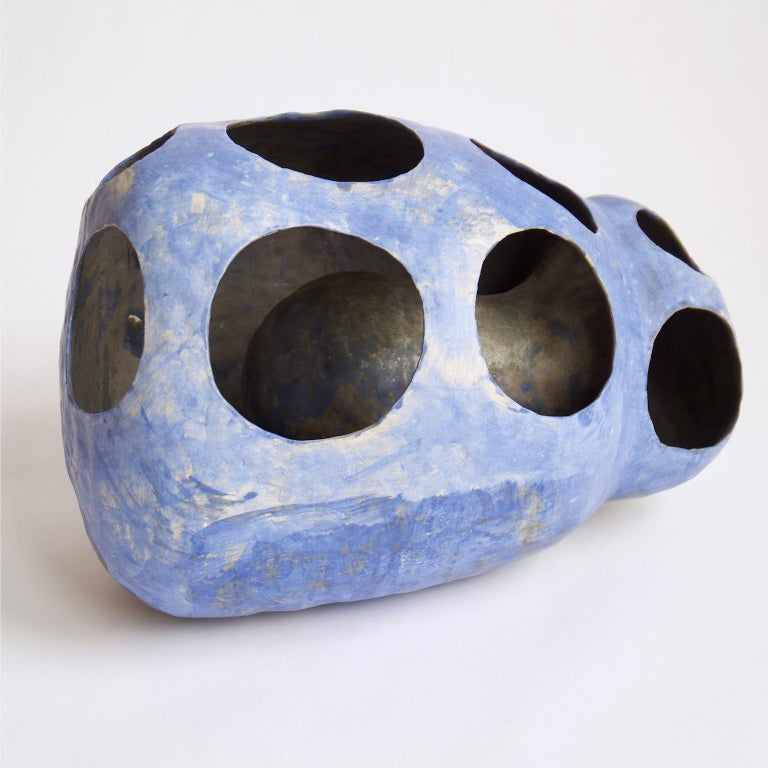 Hand-Built Ceramic Contemporary Sculpture in Cobalt Blue Oxide by Yuko Nishikawa For Sale 3