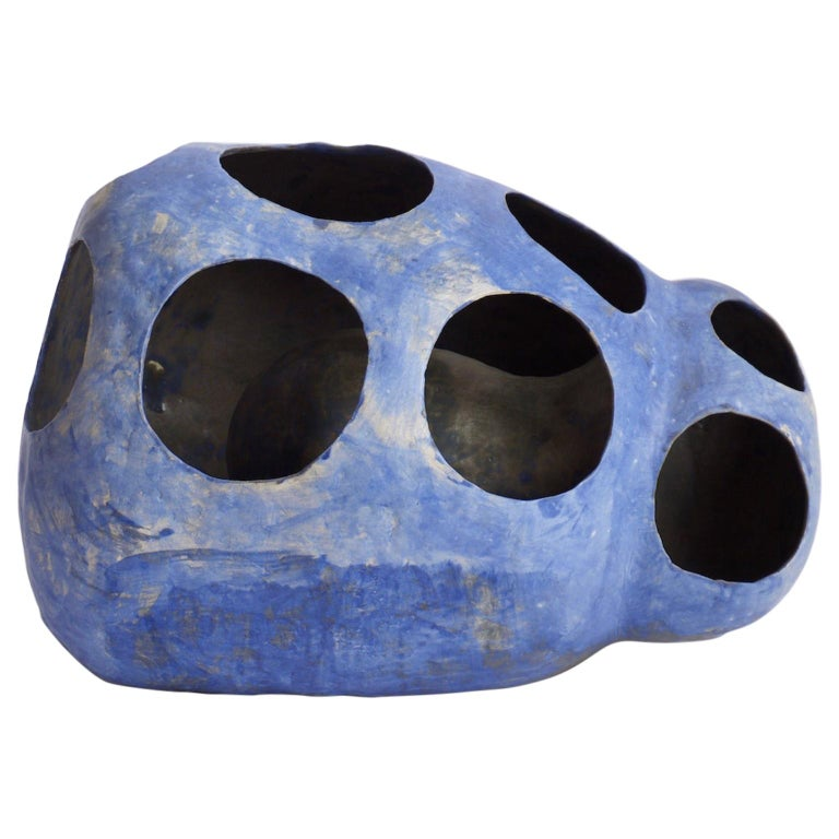Hand-Built Ceramic Contemporary Sculpture in Cobalt Blue Oxide by Yuko Nishikawa For Sale