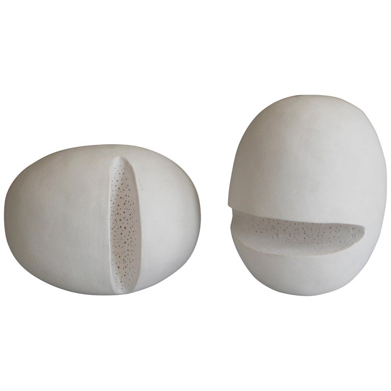 """Hand-Built Ceramic Sculptural Heads """"2 Heads Are Better Than..."""" 'In White' For Sale"""