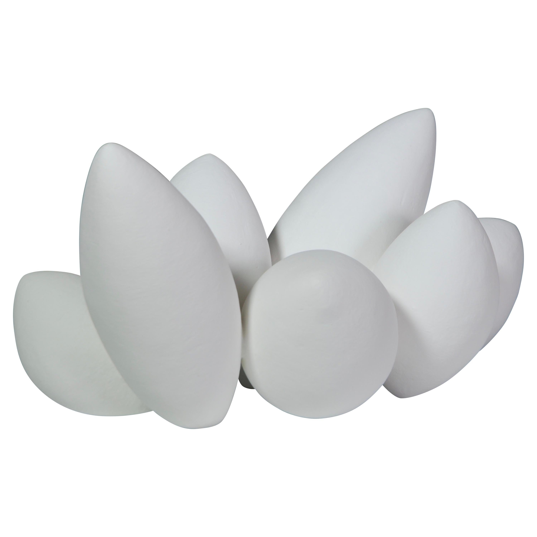 Hand Built Ceramic Sculpture, Pod Composite In White Underglaze