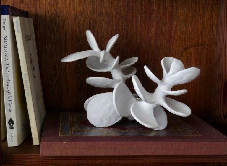 Hand-Built Ceramic Sculpture, Vertebrae With Powder White Petals For Sale 6