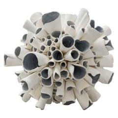 "Hand-Built Ceramic Sculpture""Starburst"" in Natural White with Blue/Gray Interior"