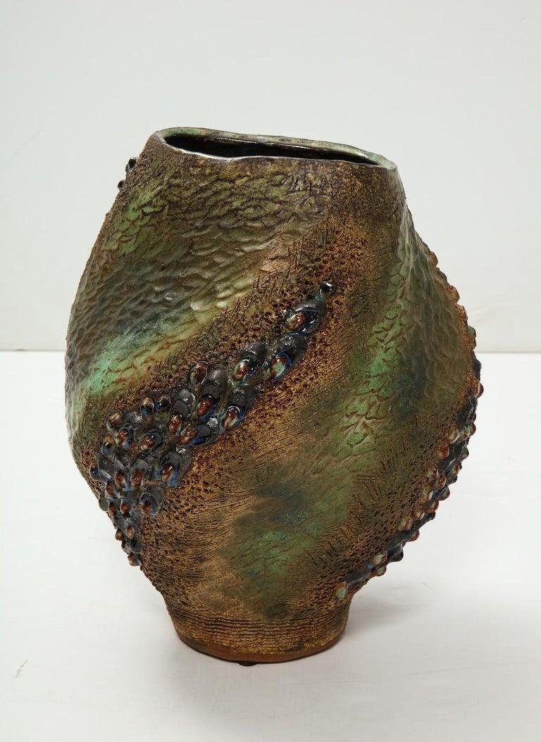 Modern Hand-Built Ceramic Vase by Dena Zemsky For Sale