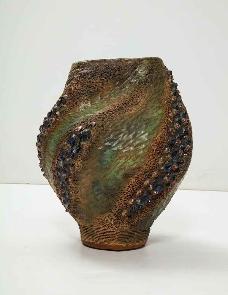 Hand-Built Ceramic Vase by Dena Zemsky In Excellent Condition For Sale In New York, NY