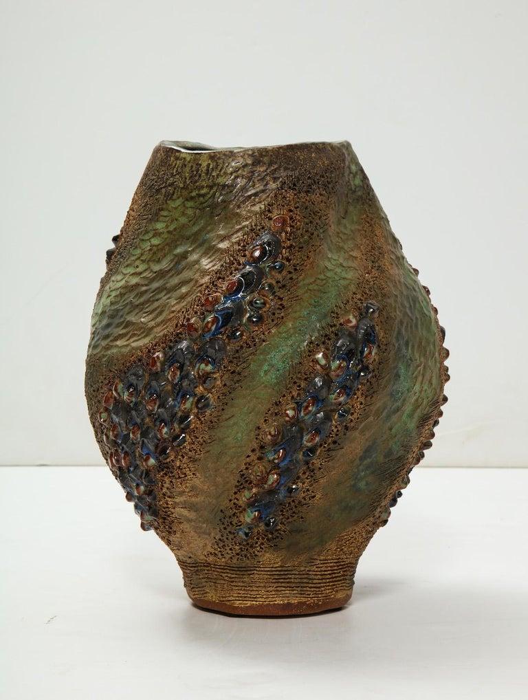 Contemporary Hand-Built Ceramic Vase by Dena Zemsky For Sale