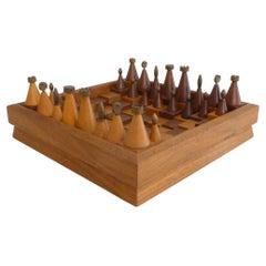 Hand-Built Modernist Wood and Brass Chess Set