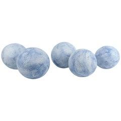 Hand Built Sky Blue Ceramic Spheres, Terra Sigilatta & Cobalt Oxide
