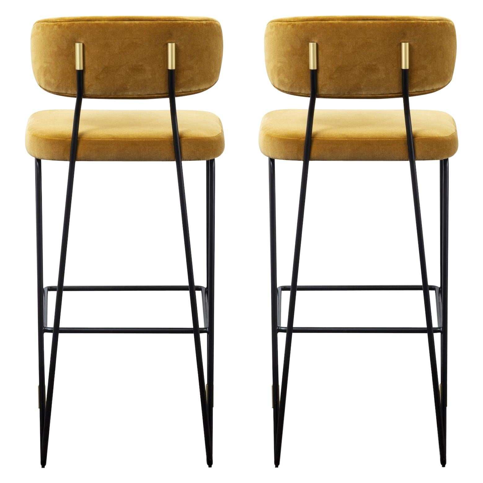 Hand Built Stool in Black Metal Frame and Brass Detailing