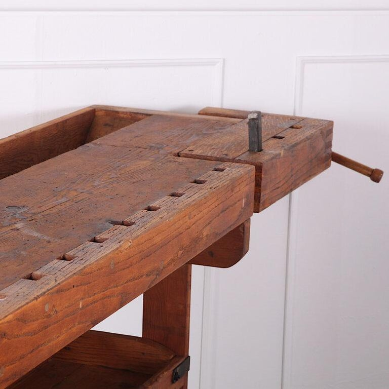 Hand-Built Workbench with Two Vices In Good Condition In Vancouver, British Columbia