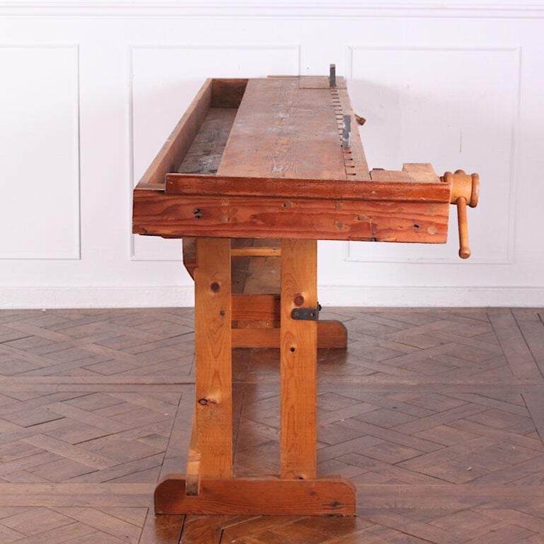 20th Century Hand-Built Workbench with Two Vices