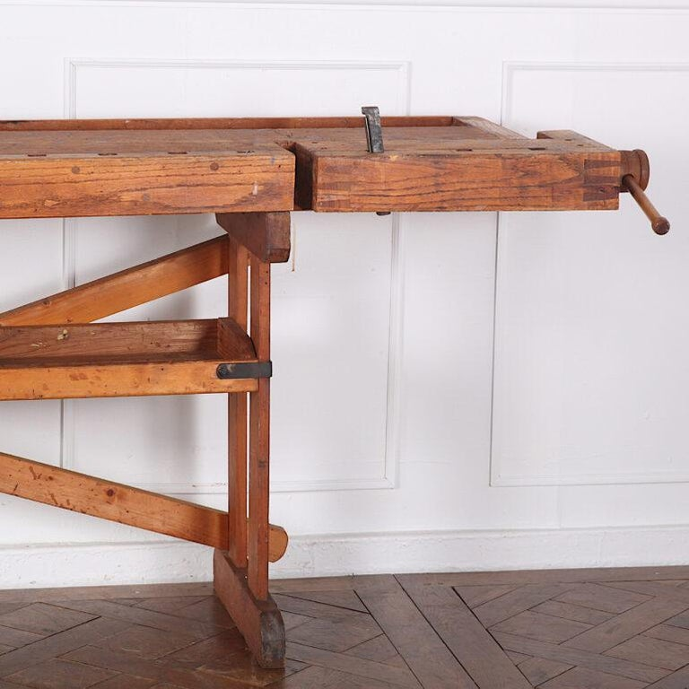 Hand-Built Workbench with Two Vices 1