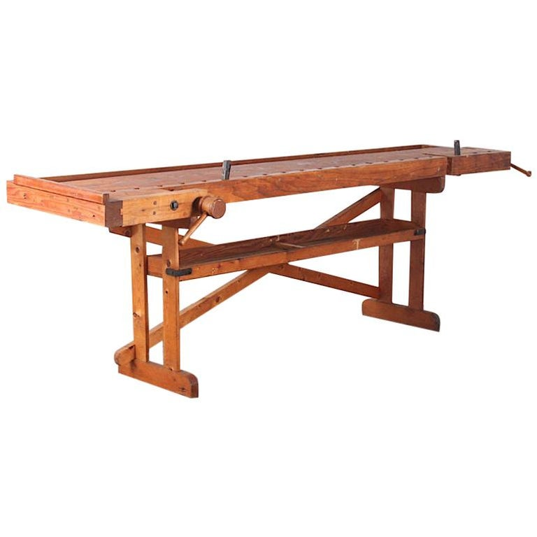 Hand-Built Workbench with Two Vices