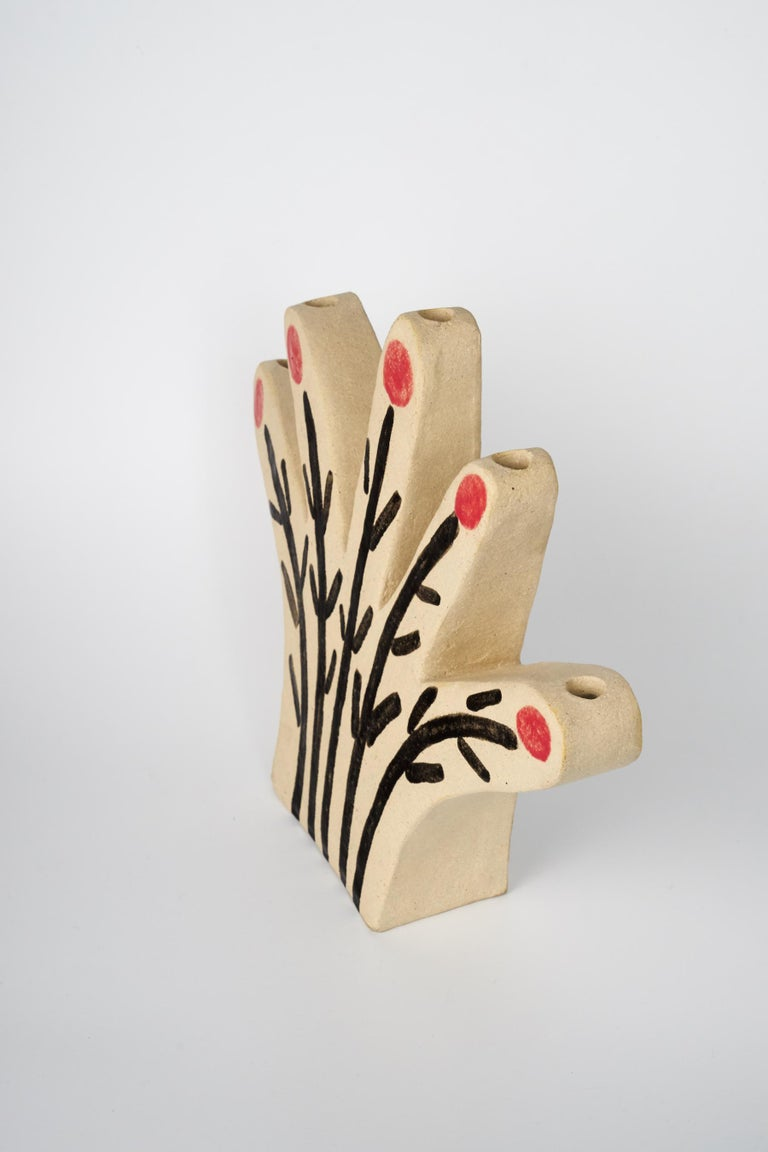Hand candleholder is a unique hand painted sculpture in the red and black glaze on chamotte clay. Modelled, partially glazed. Numbered by the artist at the bottom. It can be used as a candleholder or a vase.