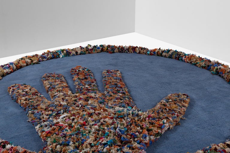 Hand Carpet, Hand Knotted in Wool and Recycled Fabrics, Lorenzo Damiani For Sale 3