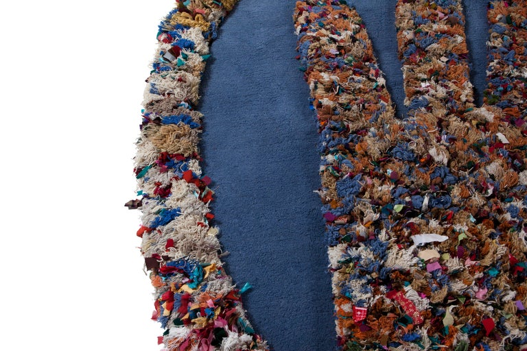 Hand Carpet, Hand Knotted in Wool and Recycled Fabrics, Lorenzo Damiani For Sale 1