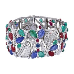 Carved Emerald Ruby Sapphire Diamond 18K Gold Bracelet Cuff