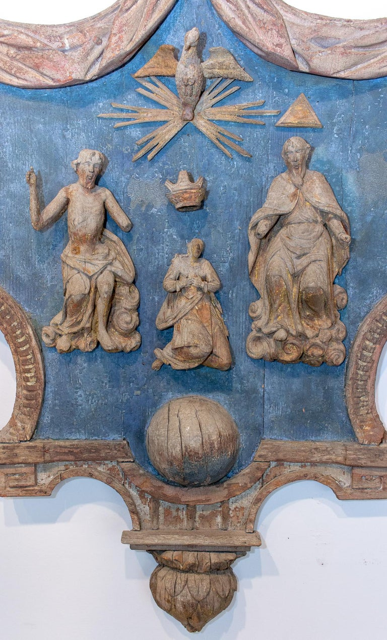 Discovered during travels that brought us to Northern France, this truly exceptional piece of religious history was once installed in the chapel of a church located in Aillant-Sur-Tholon, France and dates to 1640. Close to Auxerre this church is