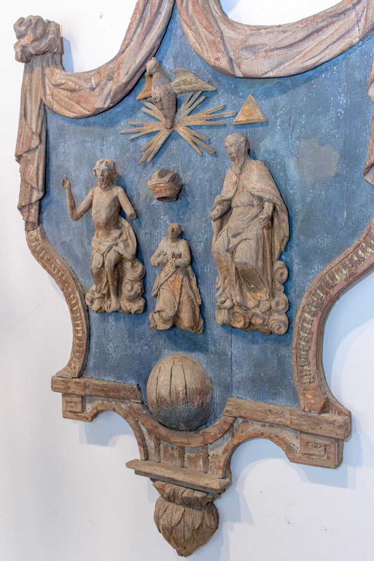 Hand Carved 17th Century French Religious Plaque of the Holy Trinity In Distressed Condition For Sale In Houston, TX