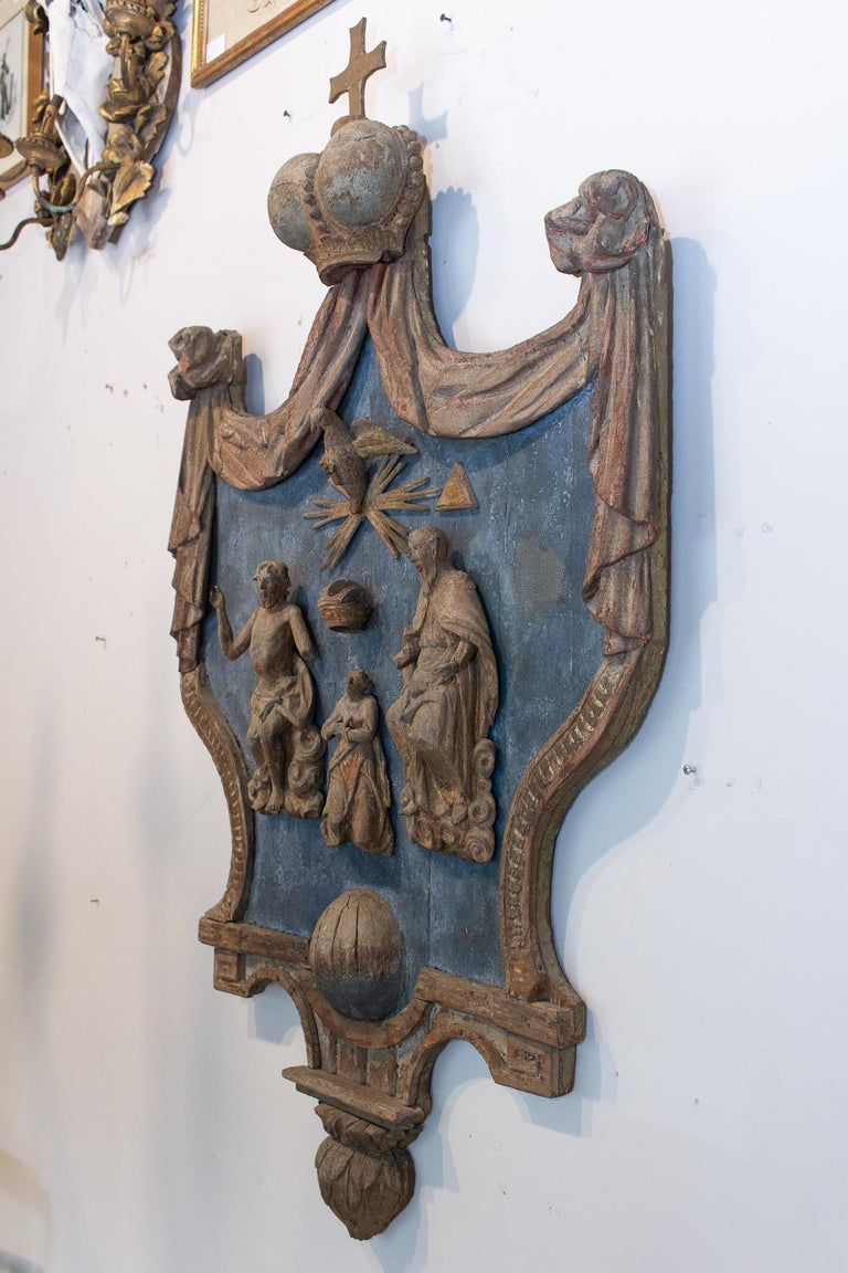 18th Century and Earlier Hand Carved 17th Century French Religious Plaque of the Holy Trinity For Sale