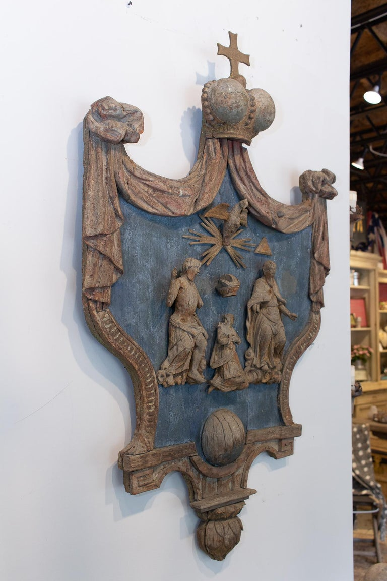 Wood Hand Carved 17th Century French Religious Plaque of the Holy Trinity For Sale