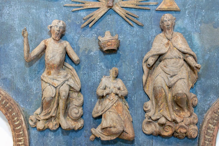 Hand Carved 17th Century French Religious Plaque of the Holy Trinity For Sale 1