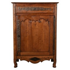 Hand Carved 18th Century French Cherrywood Tall Buffet or Cabinet with Ironwork