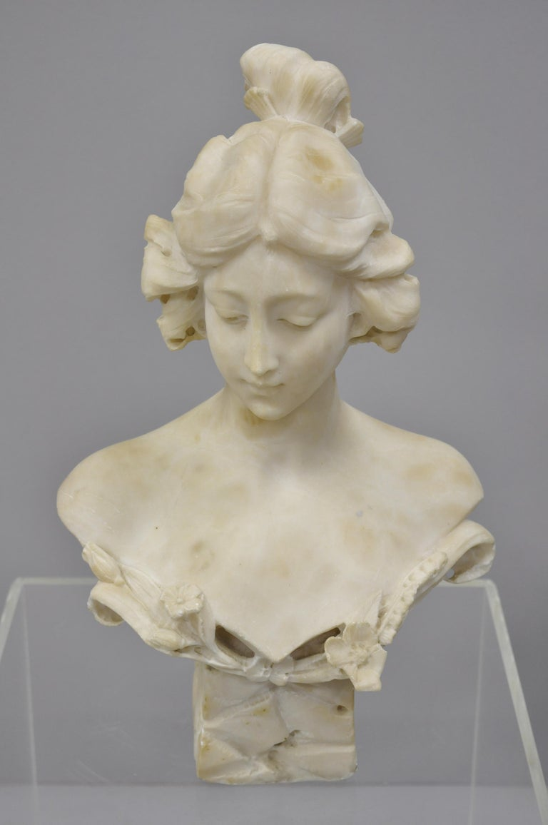Hand Carved Italian Marble Bust Statue of Maiden Signed A. Cipriani 5